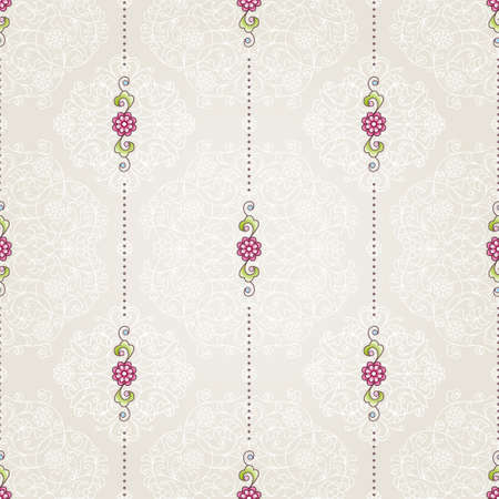 wallpaper floral: Vector seamless pattern with floral ornament. Vintage design element in Eastern style. Ornamental lace tracery. Ornate decor for wallpaper. Small floral vignette on beige background. Illustration