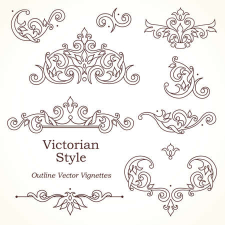cartouche: Vector set of vintage vignettes in Victorian style. Ornate element for design and place for text. Ornamental patterns for wedding invitations, birthday and greeting cards. Traditional outline decor. Illustration