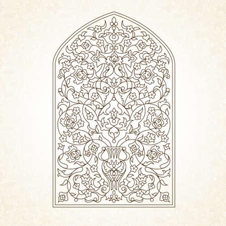 Illustration de contour. Modèle orné d'ornements en style oriental. Élément vintage pour le design. Décor floral traditionnel. Ornement oriental noir et blanc. Vecteurs