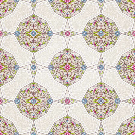 pattern antique: Vector seamless pattern with bright floral ornament. Vintage design element in Eastern style. Ornamental lace tracery. Ornate geometric decor for wallpaper. Traditional arabic decor on beige background. Illustration