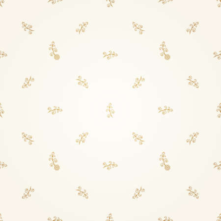 arab spring: Vector seamless pattern with floral ornament. Vintage design element. Ornamental lace tracery. Simple decor for wallpaper. Small golden vignette on beige background. Illustration