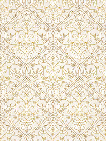 vintage element: Vintage design element in Eastern style. Vector seamless pattern with floral ornament.  Ornamental lace tracery. Golden ornate illustration for wallpaper. Traditional arabic decor on light background.