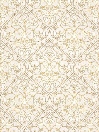 Vintage design element in Oost-stijl. Vector naadloze patroon met florale versiering. Ornamental lace maaswerk. Gouden sierlijke afbeelding voor behang. Traditionele Arabische decor op lichte achtergrond. Stock Illustratie