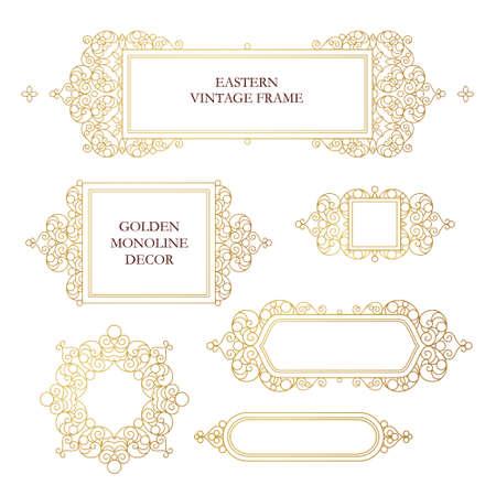 friso: Vector conjunto de marcos de arte línea de diseño de la plantilla. Elemento de estilo oriental. Oro esquema cuadros de flores. Mono decoración de línea para las invitaciones, tarjetas de felicitación, certificado, gracias mensaje. Vectores