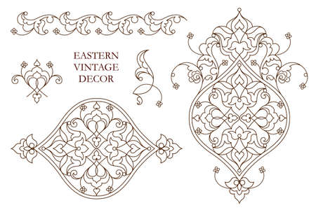 vintage element: Vector set of vintage vignettes in Eastern style. Line art  element for design and place for text. Ornamental patterns for wedding invitations, birthday and greeting cards. Traditional outline decor.