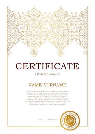 arabic background: Vector outline frame in Eastern style. Certificate template with golden tracery. Elegant design element. Ornate line art border. Ornamental decor for booklet, card, invitation, layout. A4 page size. Illustration