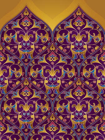 ornamental pattern: Vector seamless pattern with bright floral ornament. Vintage design in Eastern style. Ornamental lace tracery. Ornate floral decor for wallpaper. Traditional arabic decor with golden elements. Illustration