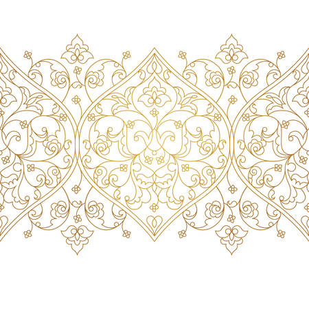 scrollwork: Vector line art seamless border for design template. Eastern style element. Golden outline floral decor. Mono line illustration for invitations, cards, certificate, thank you message, web page.
