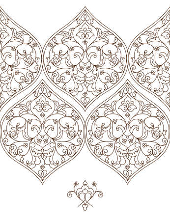 scrollwork: Vector line art seamless border for design template. Eastern style element. Black outline floral decor. Mono line illustration for invitations, cards, certificate, thank you message.