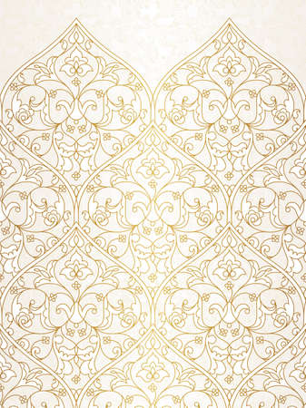 wallpaper floral: Vintage design element in Eastern style. Vector seamless pattern with floral ornament.  Ornamental lace tracery. Golden ornate illustration for wallpaper. Traditional arabic decor on light background.