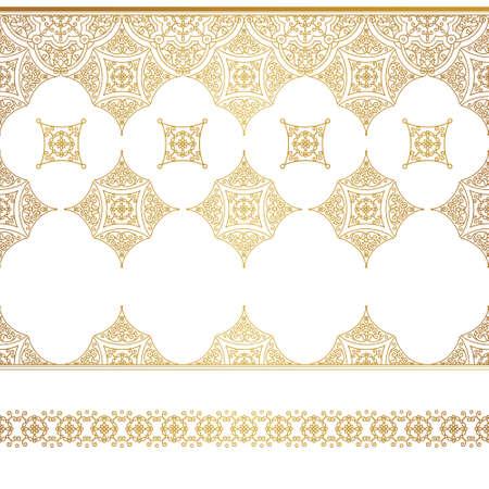 Vector set of art line frontières sans soudure pour modèle de conception. élément de style oriental. Or les grandes lignes de décoration florale. Mono illustration ligne pour les invitations, cartes, certificat, merci message. Banque d'images - 59874845