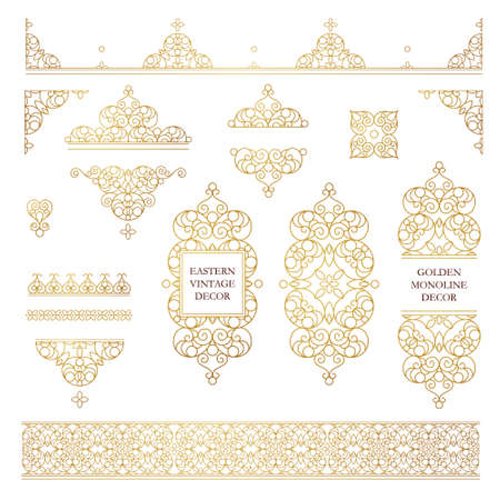 Vector set of line art frames and borders for design template. Element in Eastern style. Golden outline floral frames. Mono line decor for invitations, greeting cards, certificate, thank you message. Vettoriali
