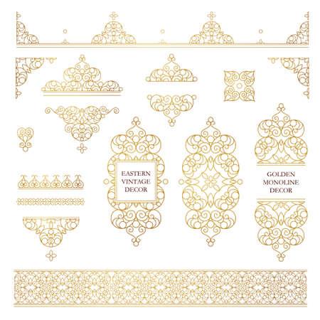 Vector set van lijntekeningen frames en grenzen voor ontwerp sjabloon. Element in Oost-stijl. Golden schets bloemen frames. Mono line decor voor uitnodigingen, wenskaarten, certificaat, dank u bericht. Stock Illustratie