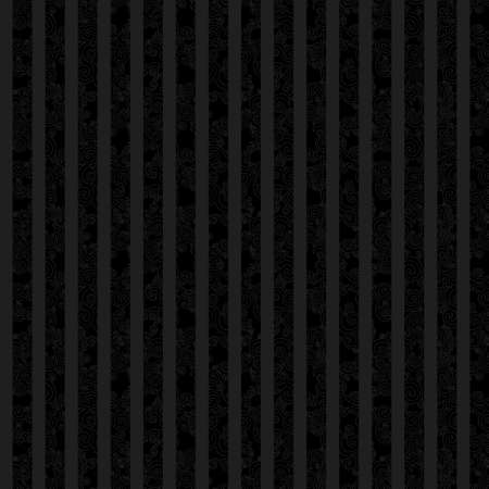 repetition row: Vintage seamless texture with swirls and vertical strips. Black pattern. Scroll vector ornament. Design element. Dark decor for wallpaper.