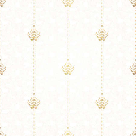 coloured background: Vector seamless pattern with floral ornament. Vintage design element in Eastern style. Ornamental lace tracery. Golden decor for wallpaper.  Small floral vignette on light coloured background.