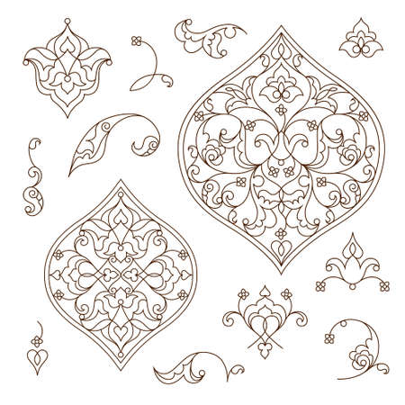 scrollwork: Vector set of line art decor, ornate vignettes for design template. Eastern style element. Black outline floral decor. Mono line illustration for invitations, cards, certificate, thank you message.
