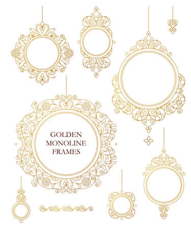 golden frames: Vector set of line art frames for design template. Element in Eastern style. Golden outline floral borders. Mono line decor for invitations, greeting cards, certificate, thank you message.