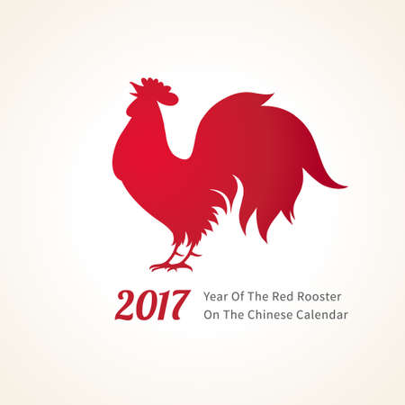 Vector illustration of rooster, symbol of 2017 on the Chinese calendar. Silhouette of red cock. Vector element for New Years design. Image of 2017 year of Red Rooster.