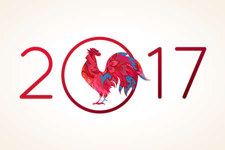 Vector illustration of rooster, symbol of 2017 on the Chinese calendar. Silhouette of red cock, decorated with floral patterns. Vector element for New Year's design. Image of 2017, year of Red Rooster.