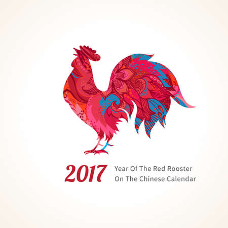 lunar: Vector illustration of rooster, symbol of 2017 on the Chinese calendar. Silhouette of red cock, decorated with floral patterns. Vector element for New Years design. Image of 2017 year of Red Rooster.