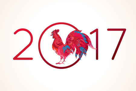 cock: Vector illustration of rooster, symbol of 2017 on the Chinese calendar. Silhouette of red cock, decorated with floral patterns. Vector element for New Years design. Image of 2017, year of Red Rooster.