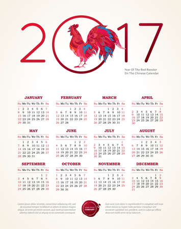 chinese calendar: Vector calendar for 2017. Illustration of Red Rooster, symbol of 2017 on the Chinese calendar. Silhouette of cock, decorated with floral patterns. Place for text. Template with week starts Sunday.