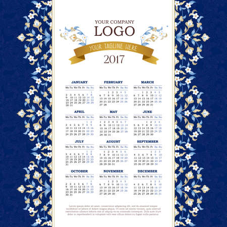 Vector calendar for 2017. Ornate decorated calendar grid. Bright floral decor, place for company logo and tagline, slogan. Template with week starts Monday. Illustration
