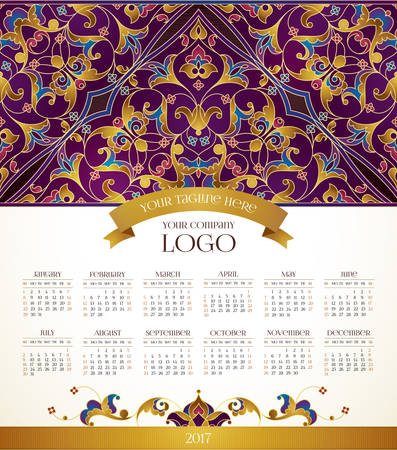 Vector calendar for 2017. Ornate decorated calendar grid. Golden floral decor, place for company logo and tagline, slogan. Template with week starts Sunday. Illustration