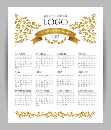 tagline: Vector calendar for 2017. Ornate decorated calendar grid. Golden floral decor, place for company logo and tagline, slogan. Template with week starts Monday.
