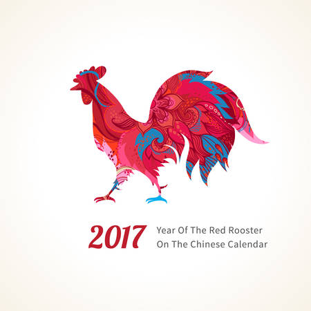Vector illustration of rooster, symbol of 2017 on the Chinese calendar. Silhouette of red cock, decorated with floral patterns. Vector element for New Years design. Image of 2017 year of Red Rooster.