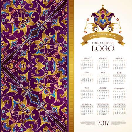 calendario octubre: Calendario del vector para la red civil de 2017. decorado adornado. la decoración floral de oro, lugar para el logotipo de la empresa y el lema, eslogan. Plantilla semana comienza con el domingo.
