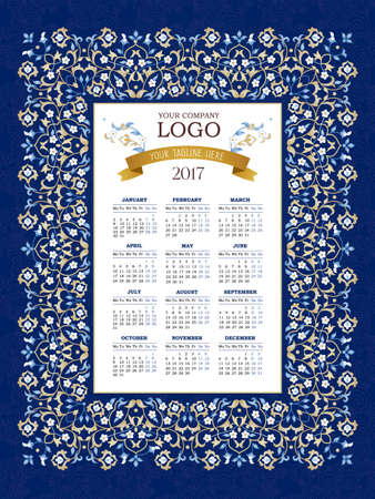 tagline: Vector calendar for 2017. Ornate decorated calendar grid. Bright floral decor, place for company logo and tagline, slogan. Template with week starts Monday. Illustration