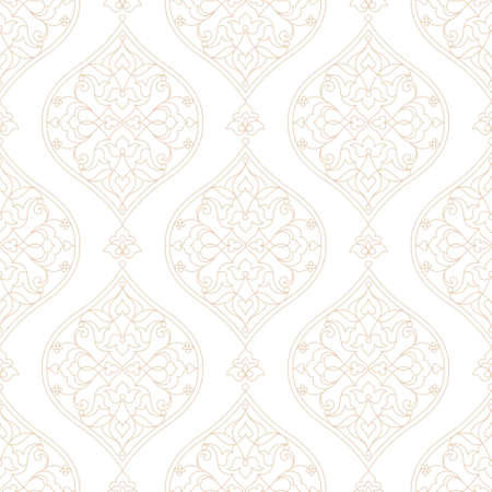vector element: Vintage design element in Eastern style. Vector seamless pattern with floral ornament. Ornamental lace tracery. Grey ornate illustration for wallpaper. Traditional arabic outline decor.