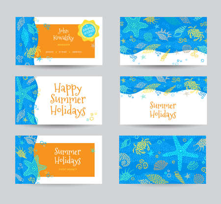 Bright Summer Holidays card with sea elements. Sea pattern with seashells and starfish. Place for your text. Template frame design for business card, label, tag, ticket. Marine life vector background.