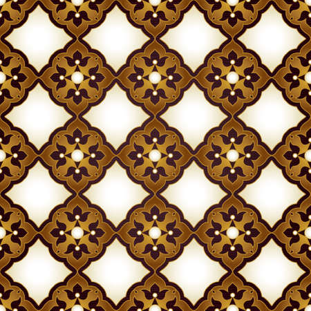 repetition: Vector seamless pattern with golden ornament. Vintage design in Eastern style. Ornamental lace tracery. Ornate decor for wallpaper. Traditional arabic illustration with floral elements.