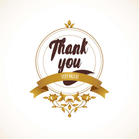 thank you sign: Vector Thank You message with golden ornate element for design. Place for company name, slogan, monogram. Floral ornament for logo template, boutique brand, business sign, coat of arms, blazon.