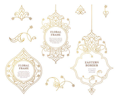 vignettes: Vector set of line art frames and vignette for design template. Element in Eastern style. Golden outline floral borders. Mono line islamic decor for invitations, greeting cards, certificate, thank you message, labels.
