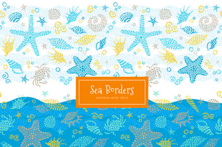 Vector seamless border with sea elements, crabs, seashells. Ornate maritime decor from drops. Spotty sea background for wallpaper, pattern fills, web page, surface textures. Marine life. Illustration