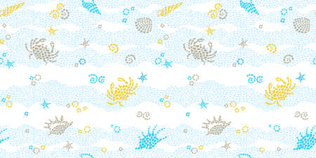 Vector seamless pattern with sea elements, crabs, seashells. Ornate maritime decor from drops. Spotty background for wallpaper, pattern fills, web page, surface textures. Marine life.