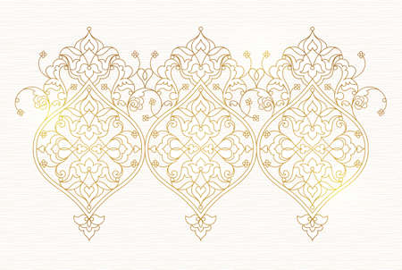 pattern antique: Vector vintage pattern in Eastern style. Ornate floral element for design. Ornamental traditional illustration for invitations, birthday cards, wallpapers, Ramadan Kareem greetings. Outline elegant decor. Illustration