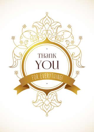 Vector le agradece mensaje con el elemento adornado de oro para el diseño. Lugar para el nombre de la empresa, lema, monograma. adornos florales para la plantilla de logotipo, marca de boutique, rótulo de establecimiento, escudo de armas, blasón.