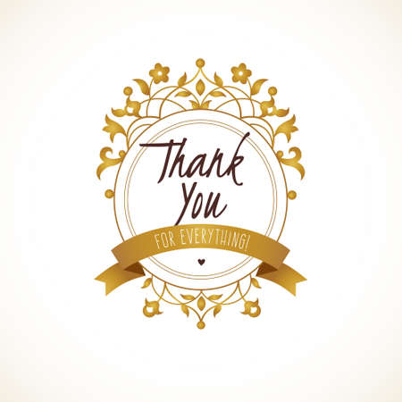 company name: Vector Thank You message with golden ornate element for design. Place for company name, slogan, monogram. Floral ornament for logo template, boutique brand, business sign, coat of arms, blazon.