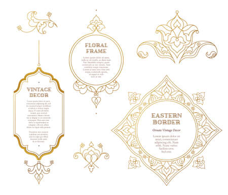 gold circle: Vector set of line art frames and vignette for design template. Element in Eastern style. Golden outline floral borders. Mono line islamic decor for invitations, greeting cards, certificate, thank you message, labels.