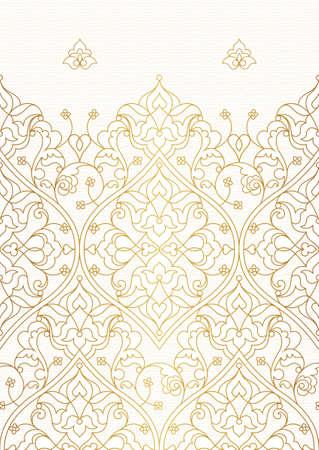 Vektor-Grafik-nahtlose Grenze für Design-Vorlage. Ost-Stil-Element. Goldene Umriss Blumen-Dekor. Mono Zeilendarstellung für Einladungen, Karten, danke Nachricht, Tapete.