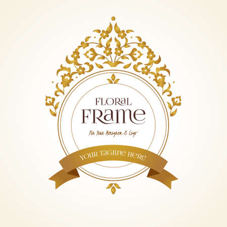 Vector logo template. Golden ornate element for design. Place for company name, slogan, monogram. Floral ornament for business card, boutique brand, certificate, business sign, coat of arms, blazon.
