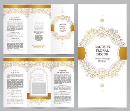 decoration style: Ornate vintage booklet with line art floral decor. Golden outline decoration in Eastern style. Template frame for brochure, flyer, page layouts, leaflet, poster. Vector border. Easy to use, layered.