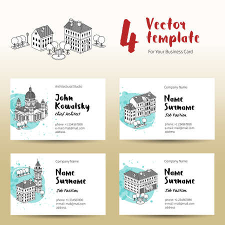 steeple: Vector design template for a business card with houses, trees and fountain. Black and white graphics of Old Town. Decor for a corporate creative background.