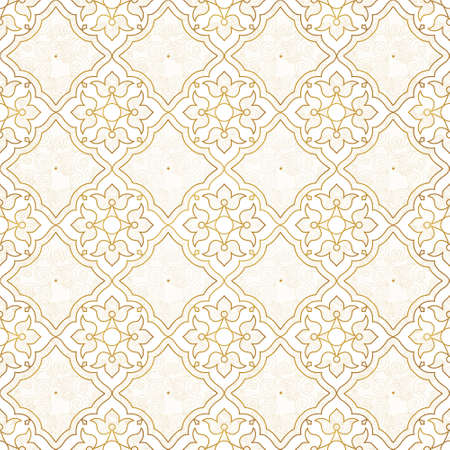 vintage element: Vintage design element in Eastern style. Vector seamless pattern with floral ornament. Ornamental lace tracery. Gold ornate illustration for wallpaper. Traditional arabic outline decor.