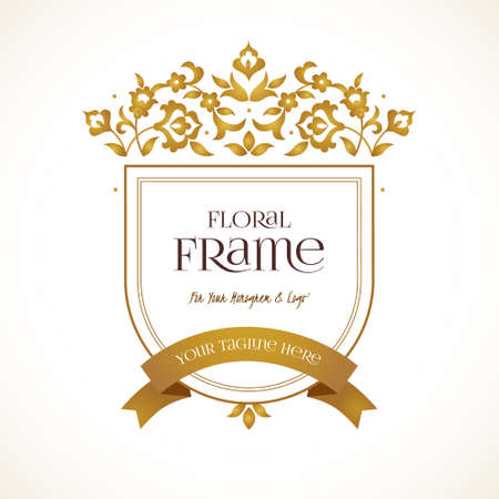 company name: Vector logo template. Golden ornate element for design. Place for company name, slogan, monogram. Floral ornament for business card, boutique brand, certificate, business sign, coat of arms, blazon.