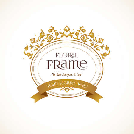 Vector  template. Golden ornate element for design. Place for company name, slogan, monogram. Floral ornament for business card, boutique brand, certificate, business sign, coat of arms, blazon.
